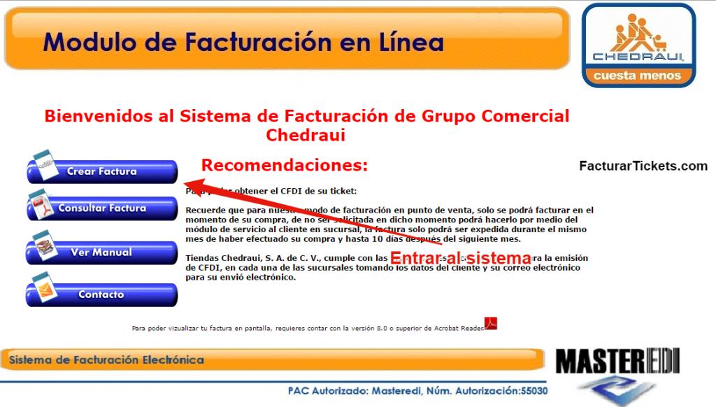 acceder a sistema de facturacion electronica Chedraui