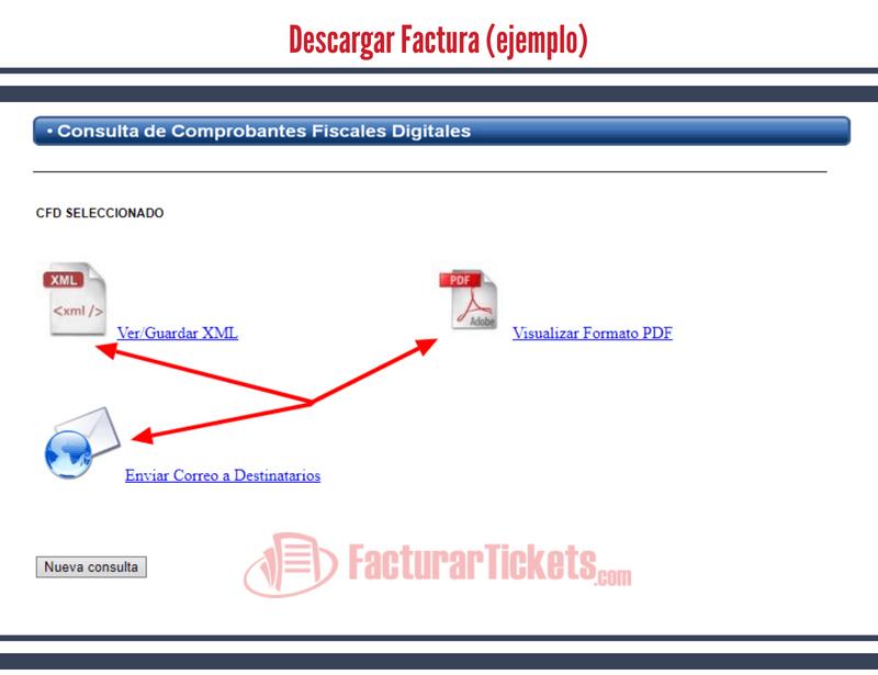 Botones de descarga PDF XML y envio a correo