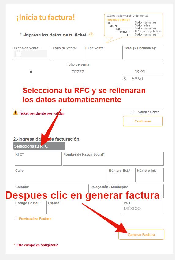 seleccionar rfc para facturar ticket oxxo