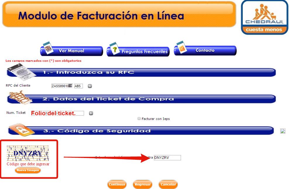 completar formulario facturacion chedraui con rfc y ticket de compra