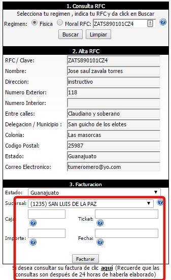 Parisina - Facturacion en linea > Facturar Tickets > XML y PDF