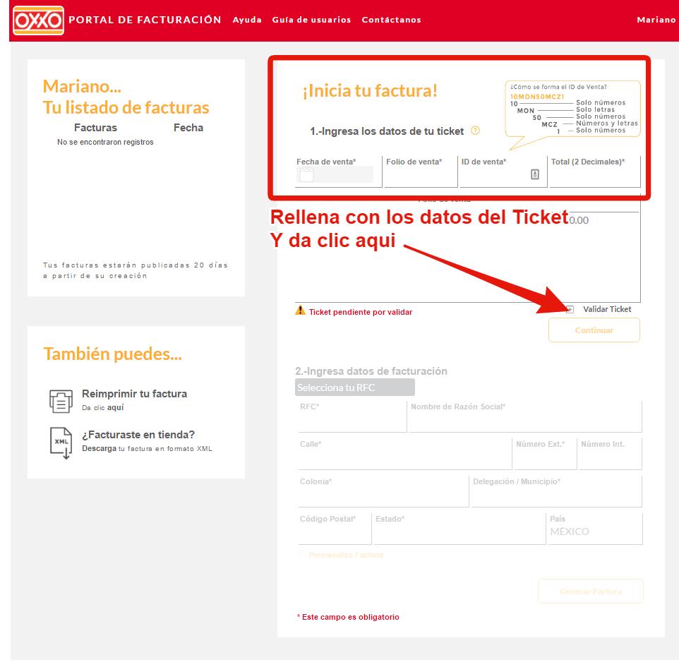 Datos del ticket OXXO para facturacion electronica