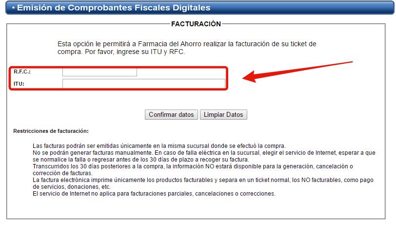 rellenar formulario con rfc y itu para facturar
