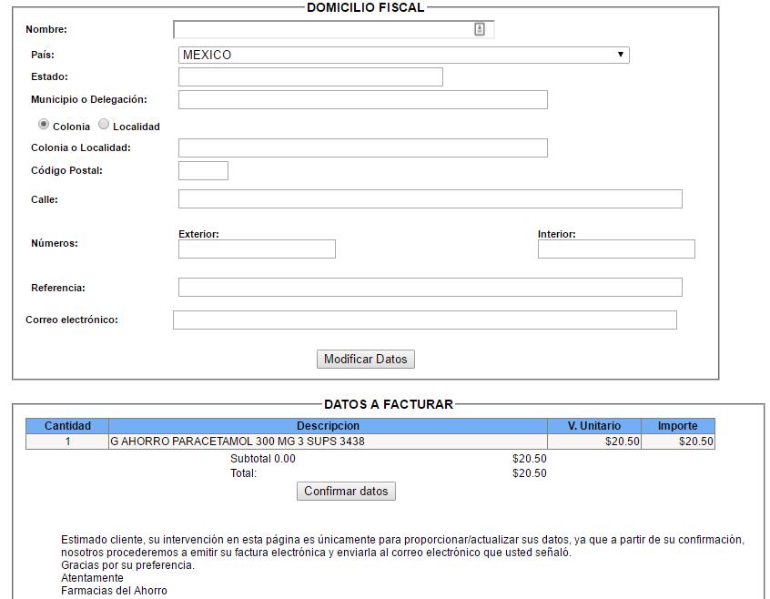 informacion fiscal y de ticket a facturar