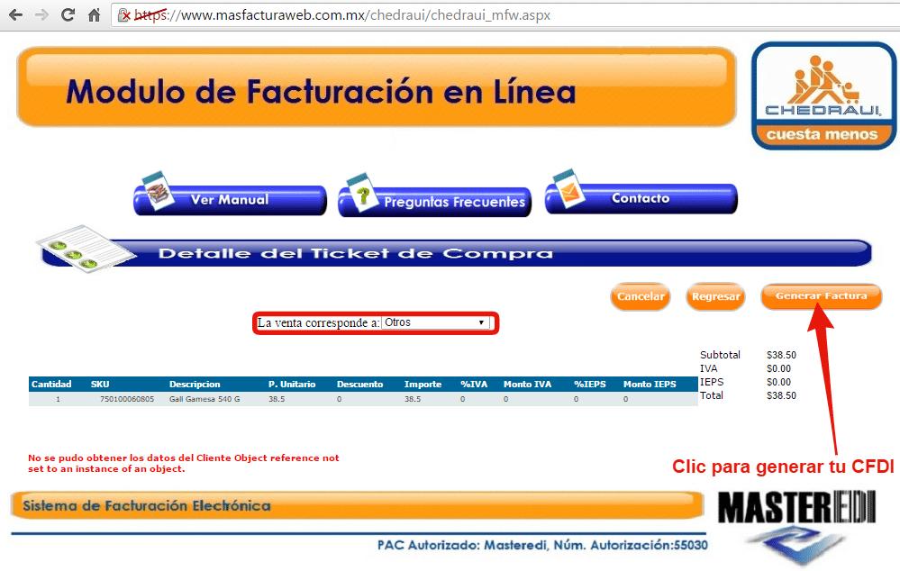 generar www.chedraui.com.mx facturación electrónica