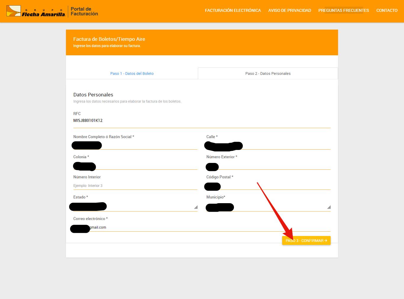 rellenar formulario de datos fiscales en facturacion primera plus