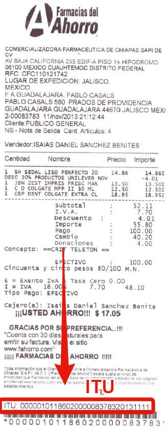 itu en ticket de farmacias del ahorro facturacion