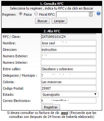 formulario de registro al sistema de facturacion la parisina