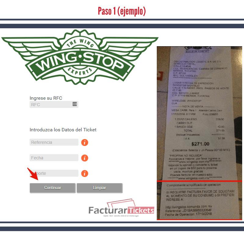 Paso 1 ingresar datos del ticket y RFC