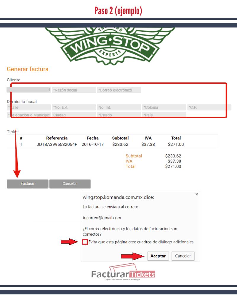 Paso 2 Verificar información de la factura