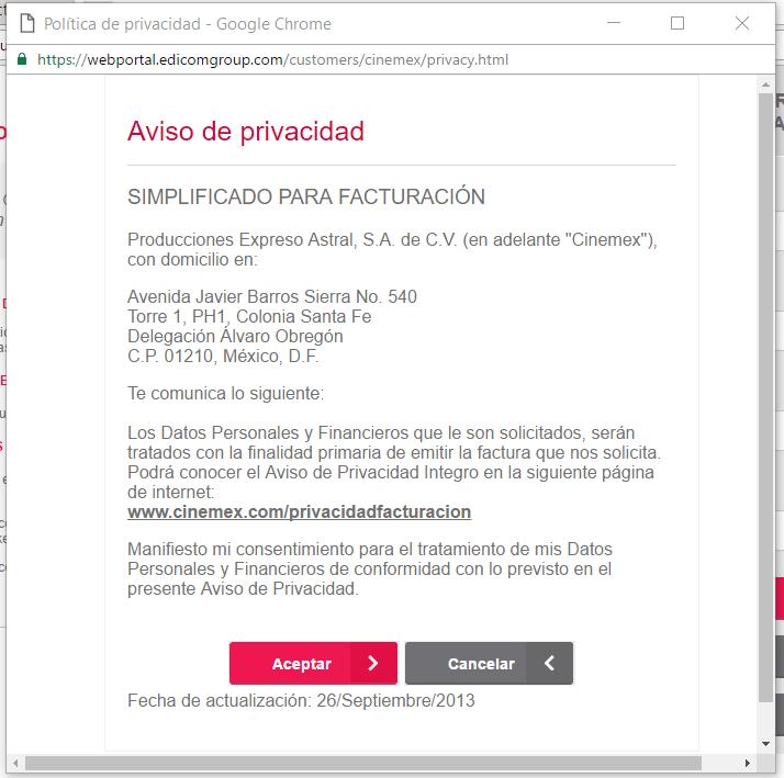 aviso de privacidad de cinemex facturacion electronica