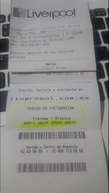 codigo de facturacion en ticket de liverpool