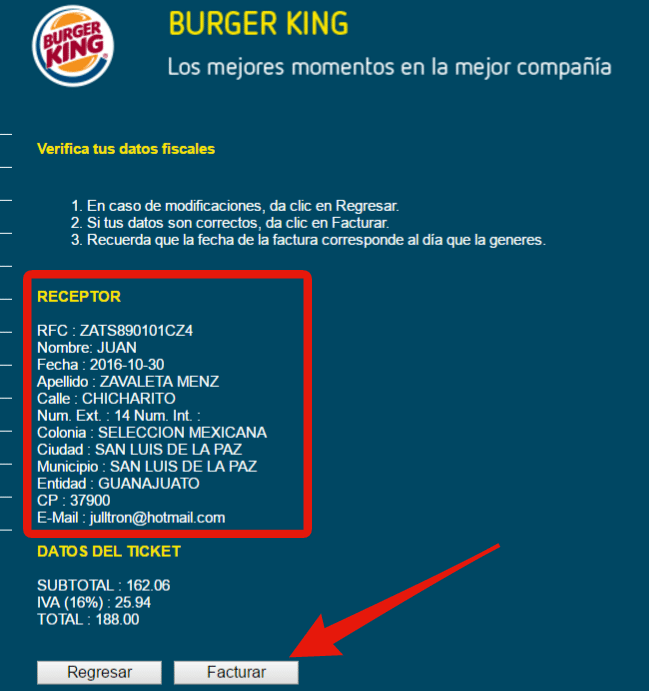 confirmar acturacion burger king