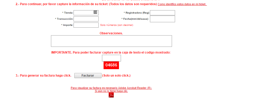 capturar datos de ticket sears