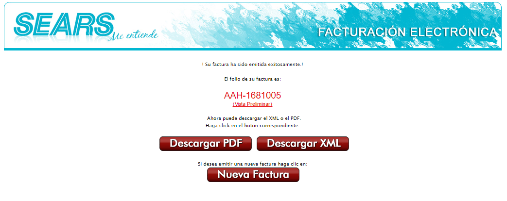 descargar factura cfdi sears