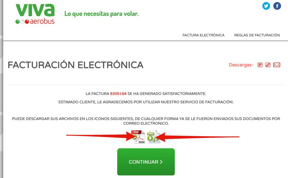 descargar factura pdf o xml de vivaaerobus