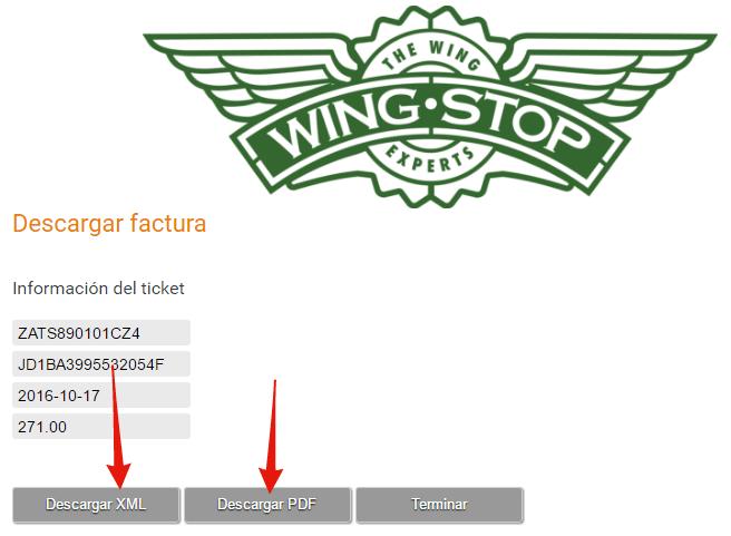 descargar factura electronica de wing stop