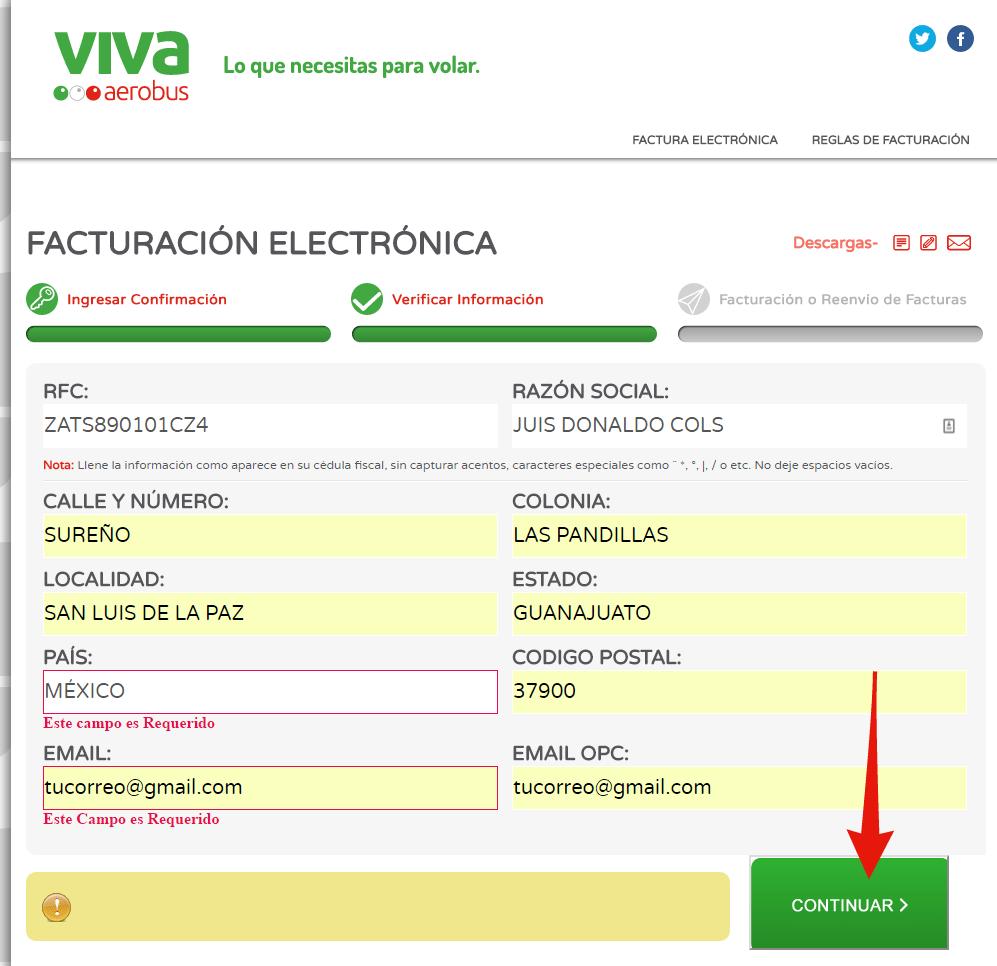 direccion fiscal para facturacion vivaaerobus