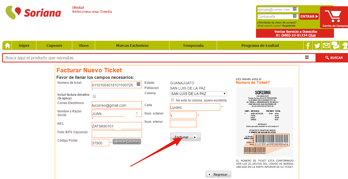 como facturar ticket de soriana con facturacion express