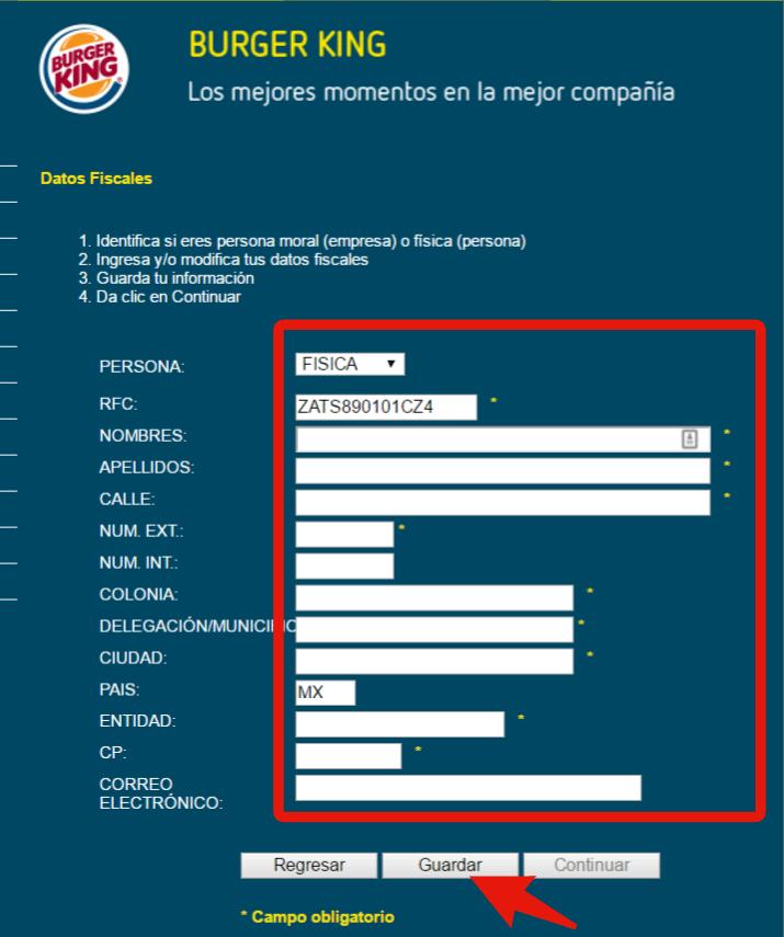 guardar informacion fiscal para la facturacion burger king en linea