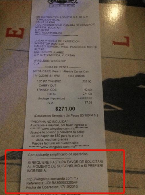 identificar datos en el ticket para facturacion wingstop en linea