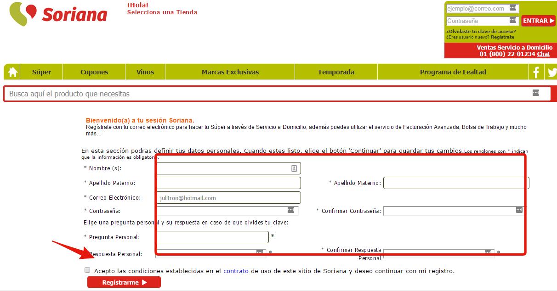 registrar cuenta en soriana facturacion avanzada
