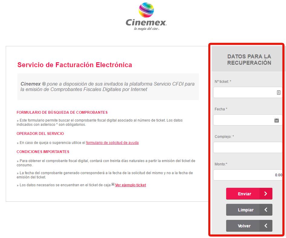 sistema de Cinemex Facturacion Electronica