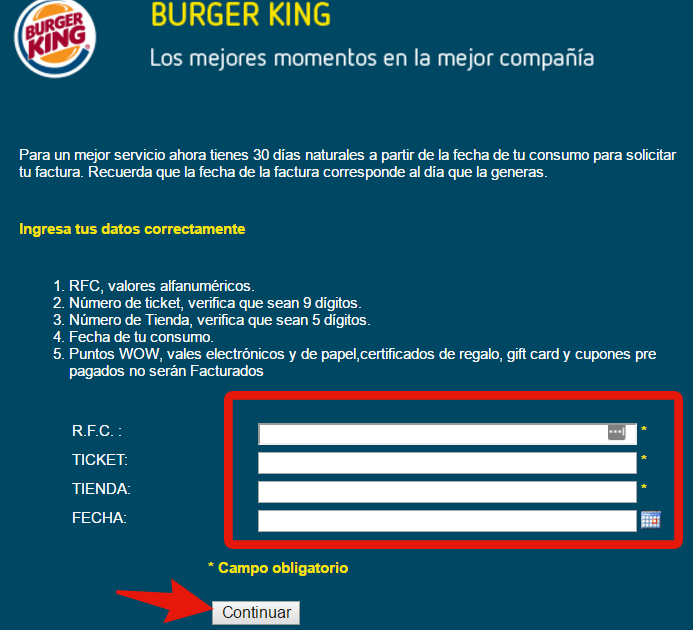 sistema de facturacion electronica burger king