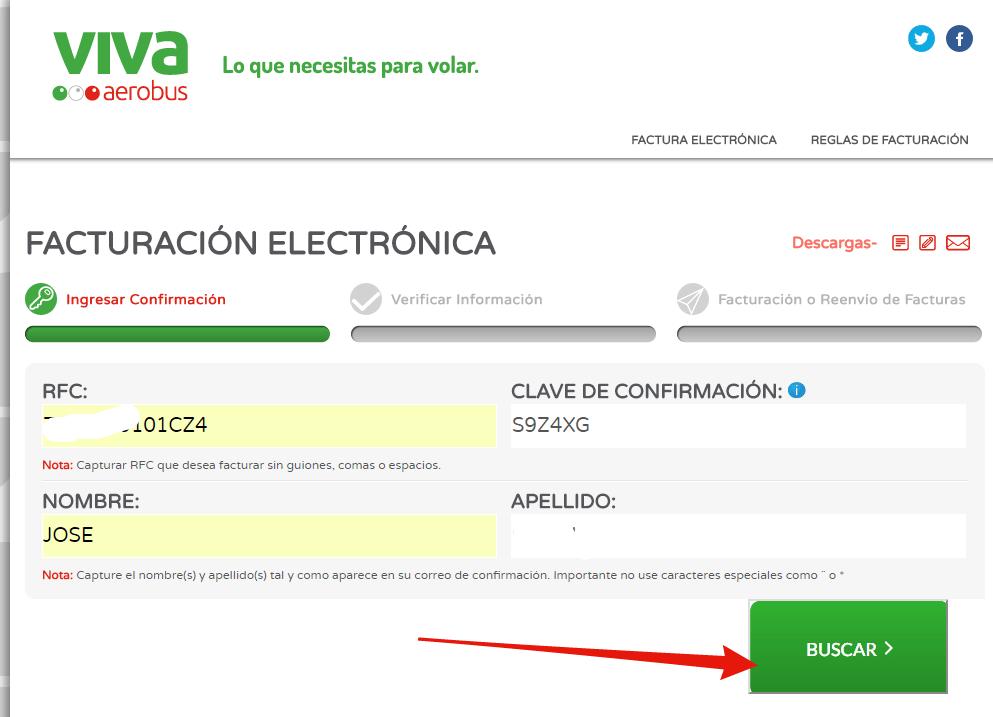 sistema principal de facturacion de vivaaerobus