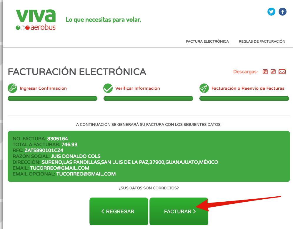 verificar informacion fiscal para facturar vivaaerobus