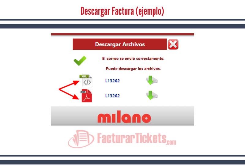 Botones para descagar facturas Milano
