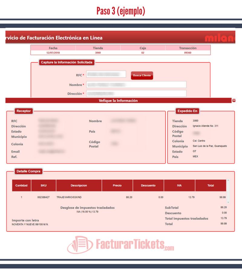 Paso 3 verificar información fiscal y de ticket