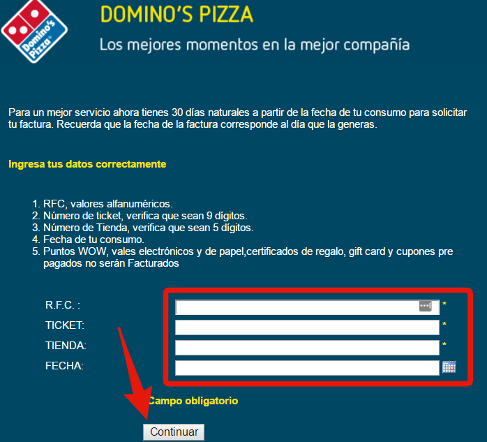 sistema de facturacion electronica dominos pizza