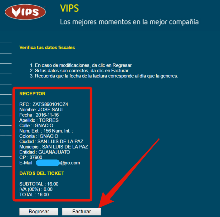 verificar datos vips facturacion
