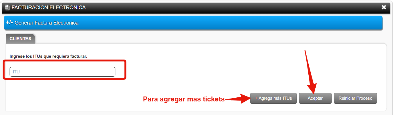 capturar el ITU o ITUs de los tickets que quieres facturar de Office Depot
