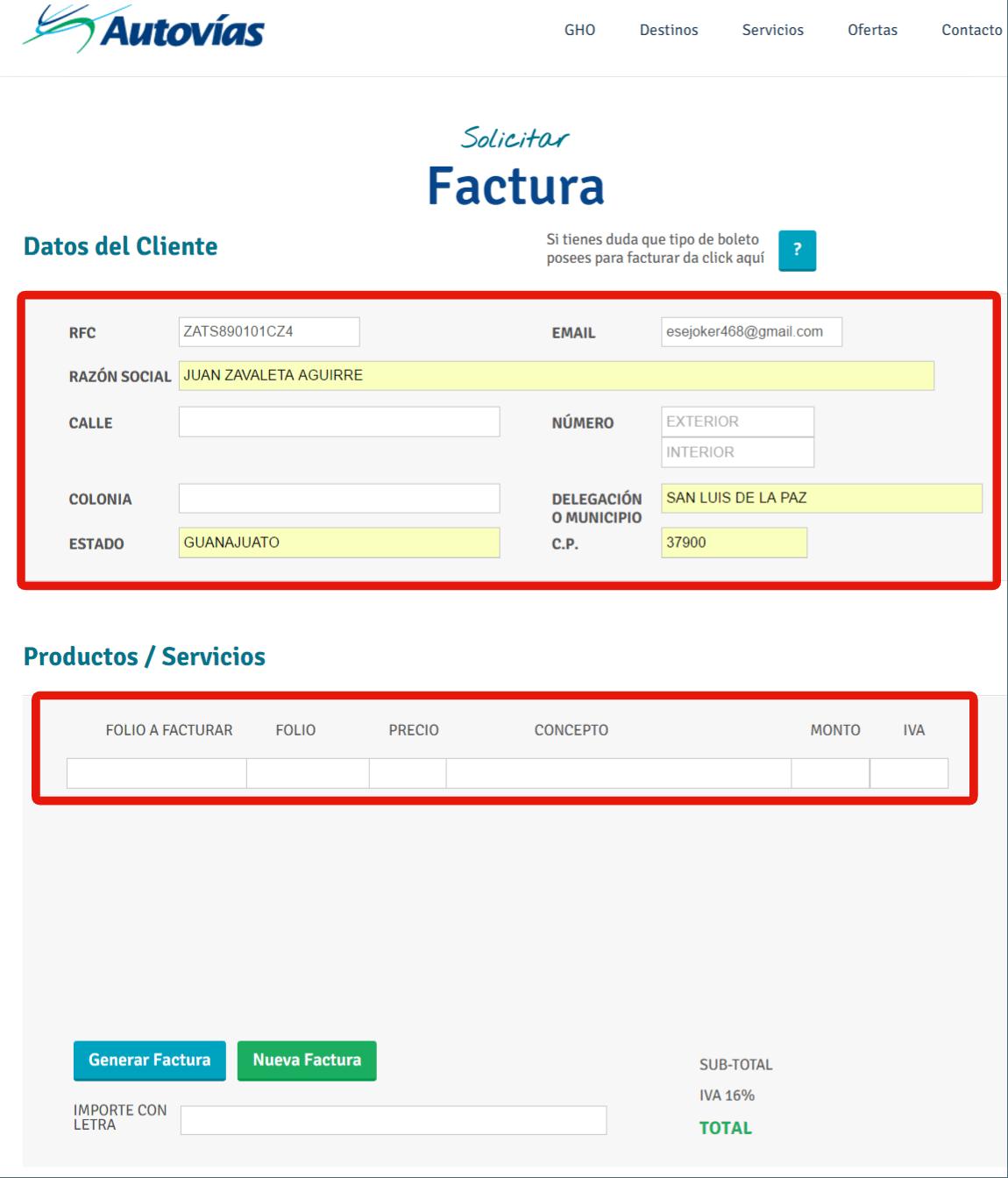 informacion fiscal para facturacion autovias
