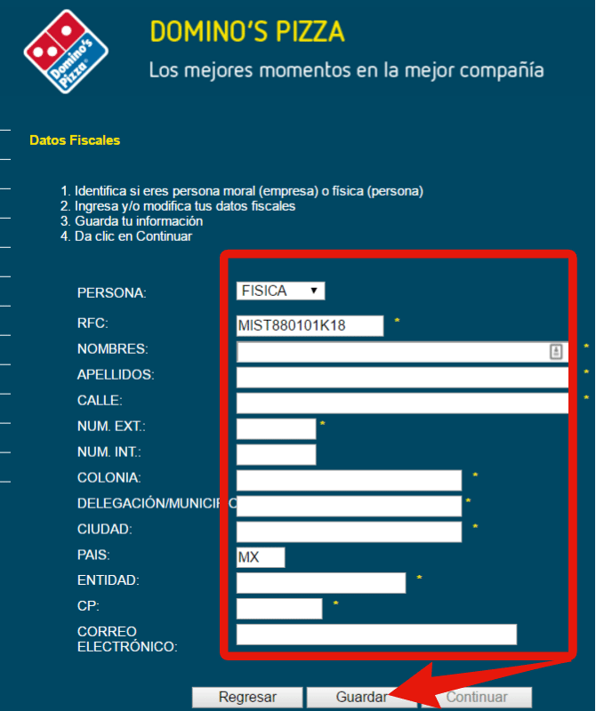 informacion fiscal para facturar dominos pizza