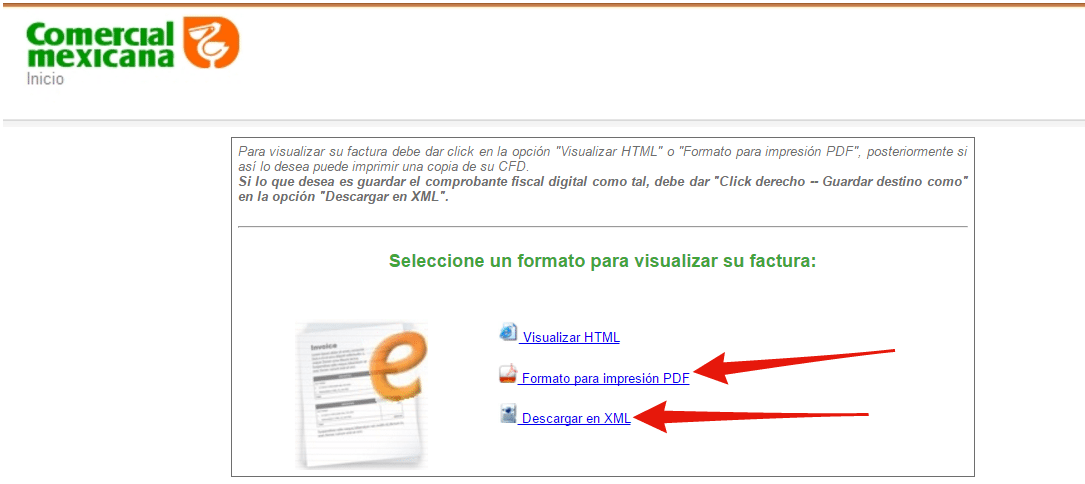 descargar factura CFDI de comercial mexicana
