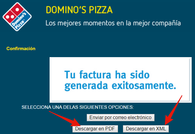 descargar factura cfdi de dominos pizza en pdf y xml