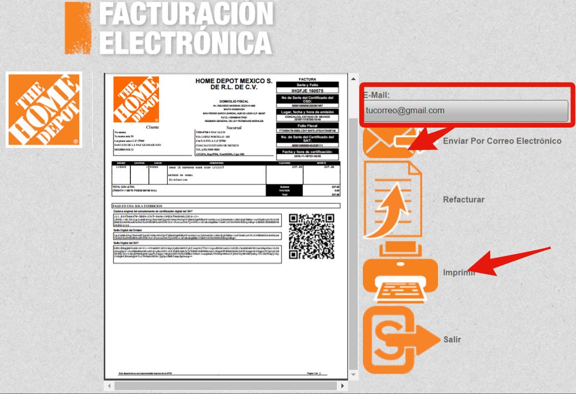 descargar o enviar por correo factura cfdi de Home Depot