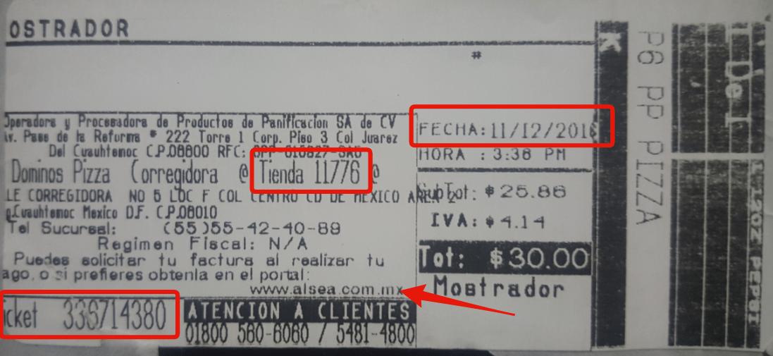 datos del ticket para facturar dominos