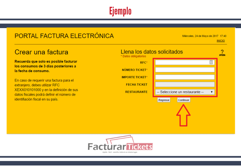 Ejemplo 1 iingresar RFC y datos del ticket