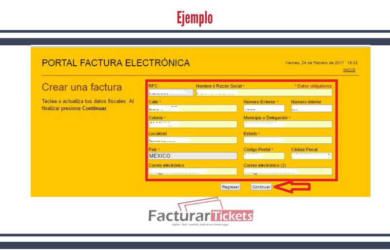Ejemplo 2 Ingresar información fiscal