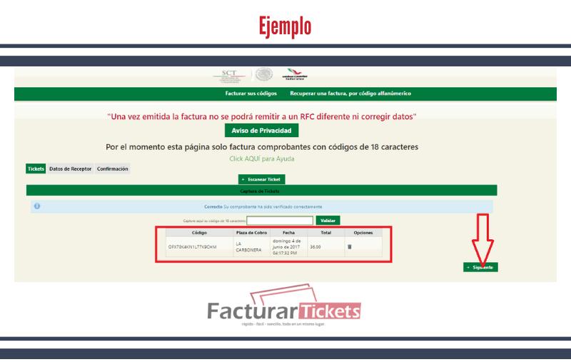 Ejemplo: validar ticket.
