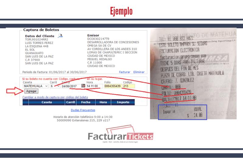 Ejemplo: capturar datos del ticket.