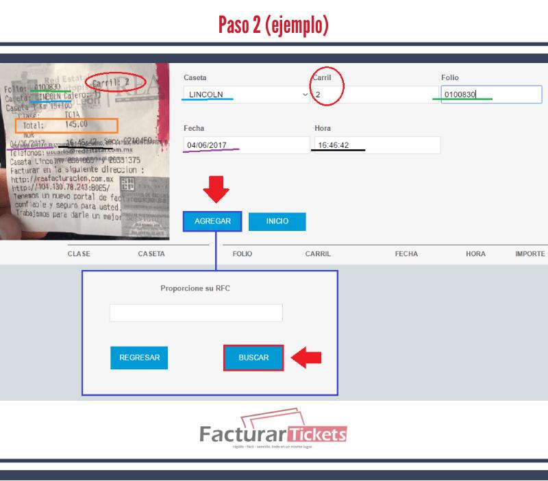 Paso 2 agregar ticket y RFC