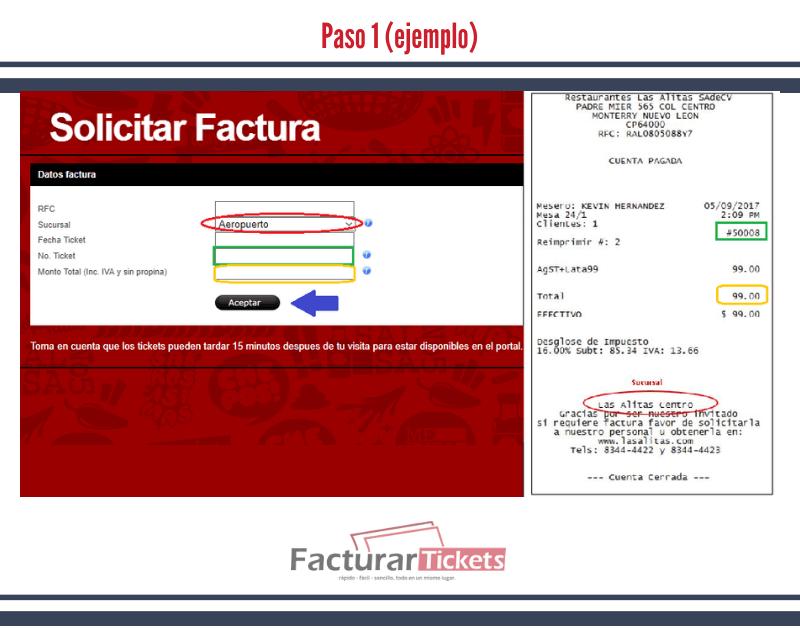 Paso 1 ingresar Datos del ticket y RFC.