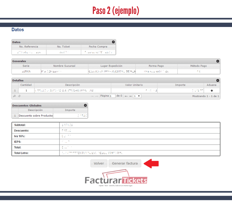 Paso 2 Verificar datos del ticket.