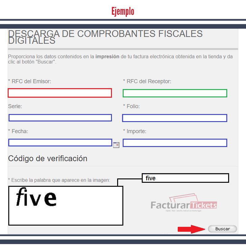 Ejemplo del formulario facturación Autozone
