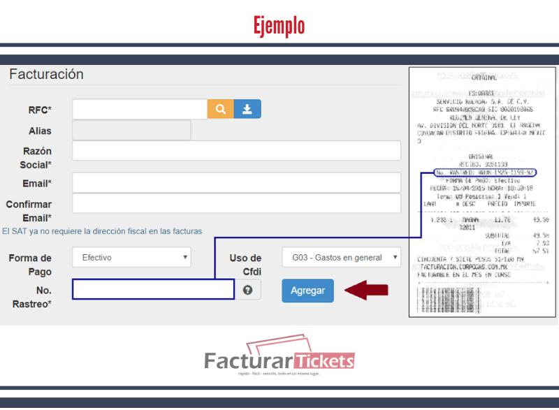 Ingresar datos del ticket y datos del cliente (ejemplo)